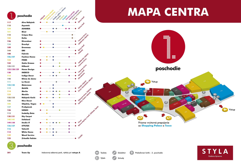 Mapa centra STYLA 1. poschodie