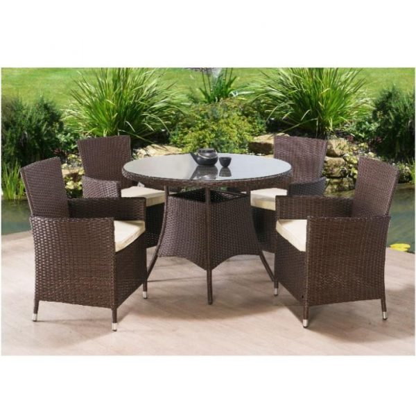 Záhradný set, stôl + 4x stolička, ratan, tmavohnedá/kremová, RANDEL