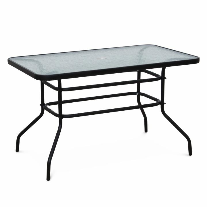 Jedálenský stôl, tvrdené sklo/oceľ, DEMAT