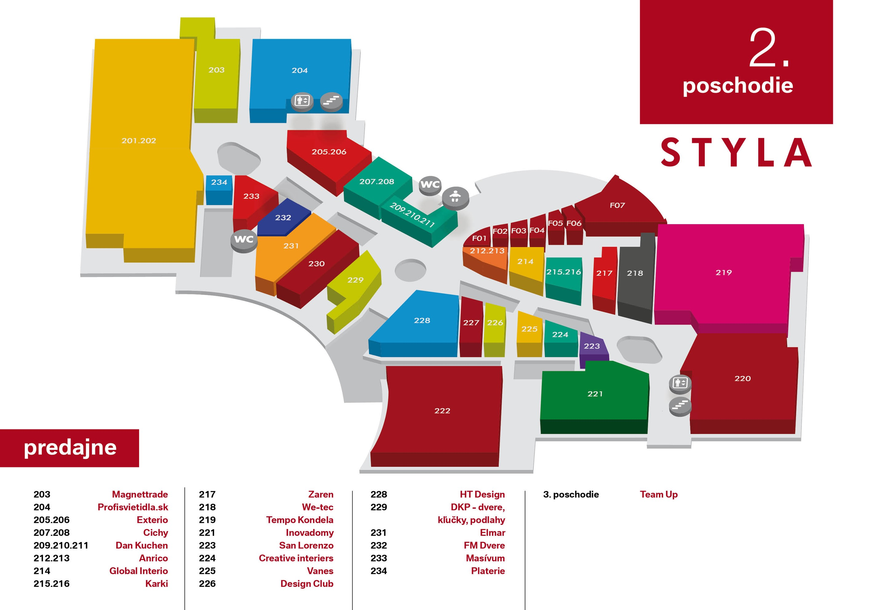 Mapa centra STYLA 2. poschodie
