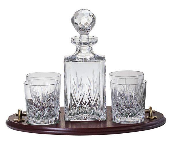 Whisky set s mahagónovým podnosom