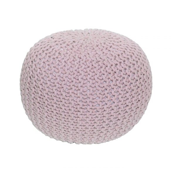 Pletený taburet, púdrová ružová bavlna,, GOBI TYP 2