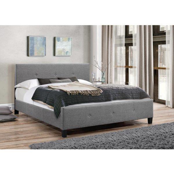 Manželská posteľ, sivá látka, 180x200, ATALAYA