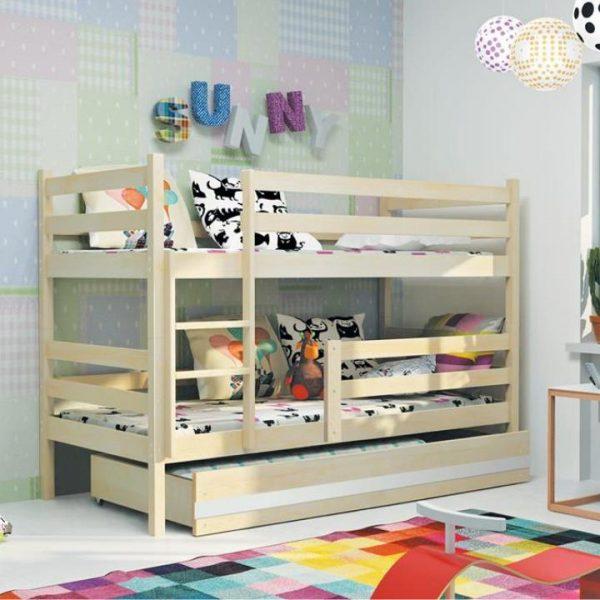 Poschodová posteľ, sosna/prírodná, 80x190, ADELA NEW