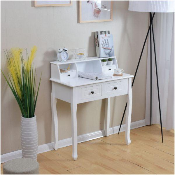 Toaletný stolík/toaletka, biela, RODES