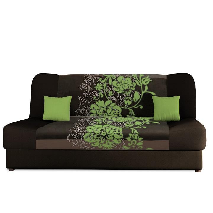 Rozkladacia pohovka, hnedá/zelený kvet, PLUM NEW