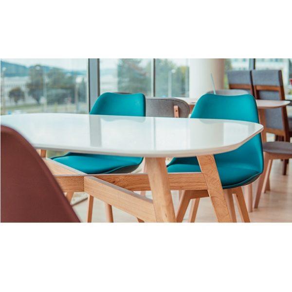 Jedálenský stôl, biela/prírodná, CYRUS NEW