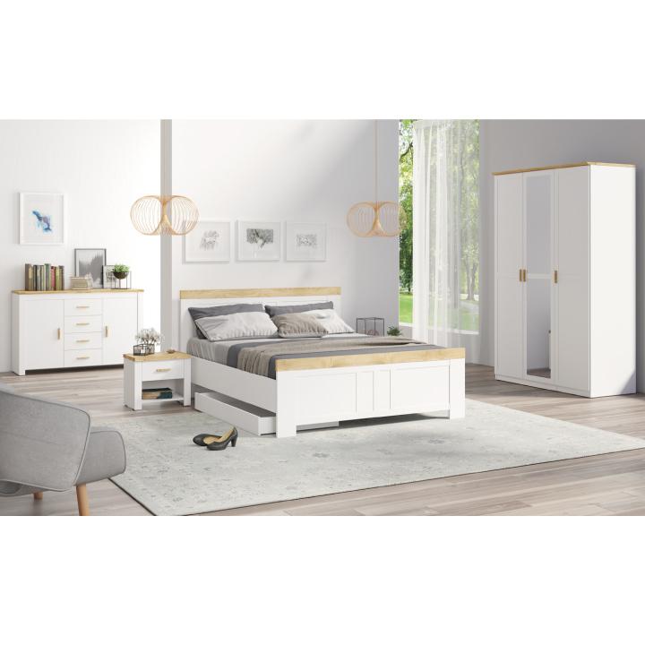 Spálňový komplet (3dv. skriňa+2x nočný stolík+posteľ 160x200), biela/dub wotan, ANICEA